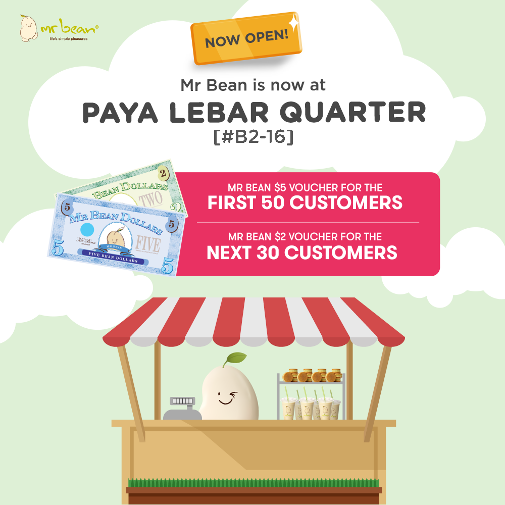 Mr Bean Singapore NEW Paya Lebar Quarter Outlet Opening Giveway on 23 Oct 2019 | Why Not Deals