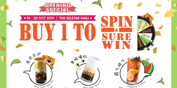 R&B Tea Singapore Seletar Mall Opening Special Buy 1 To Spin & Sure Win Promotion 18-20 Oct 2019
