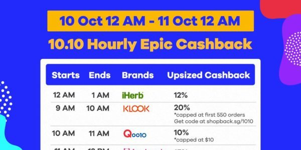 ShopBack Singapore 10.10 Hourly Epic Cashback Promotion 10-11 Oct 2019