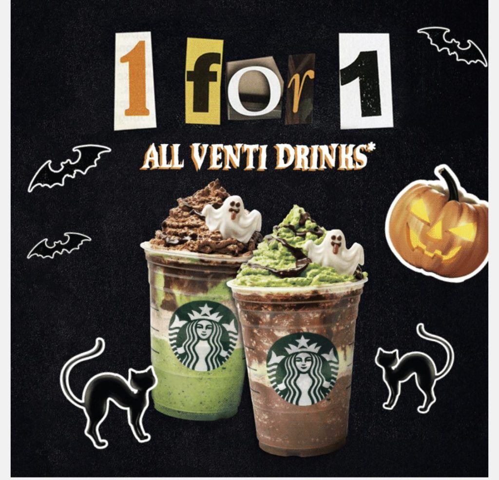 Starbucks Singapore 1-for-1 Treat On All Venti Drinks Promotion 21-24 Oct 2019 | Why Not Deals