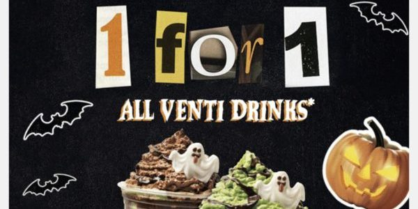 Starbucks Singapore 1-for-1 Treat On All Venti Drinks Promotion 21-24 Oct 2019