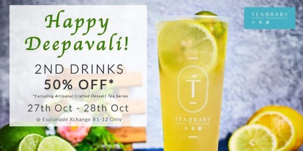 Teabrary Singapore Celebrates Deepavali with 50% Off 2nd Drink Promotion 27-28 Oct 2019