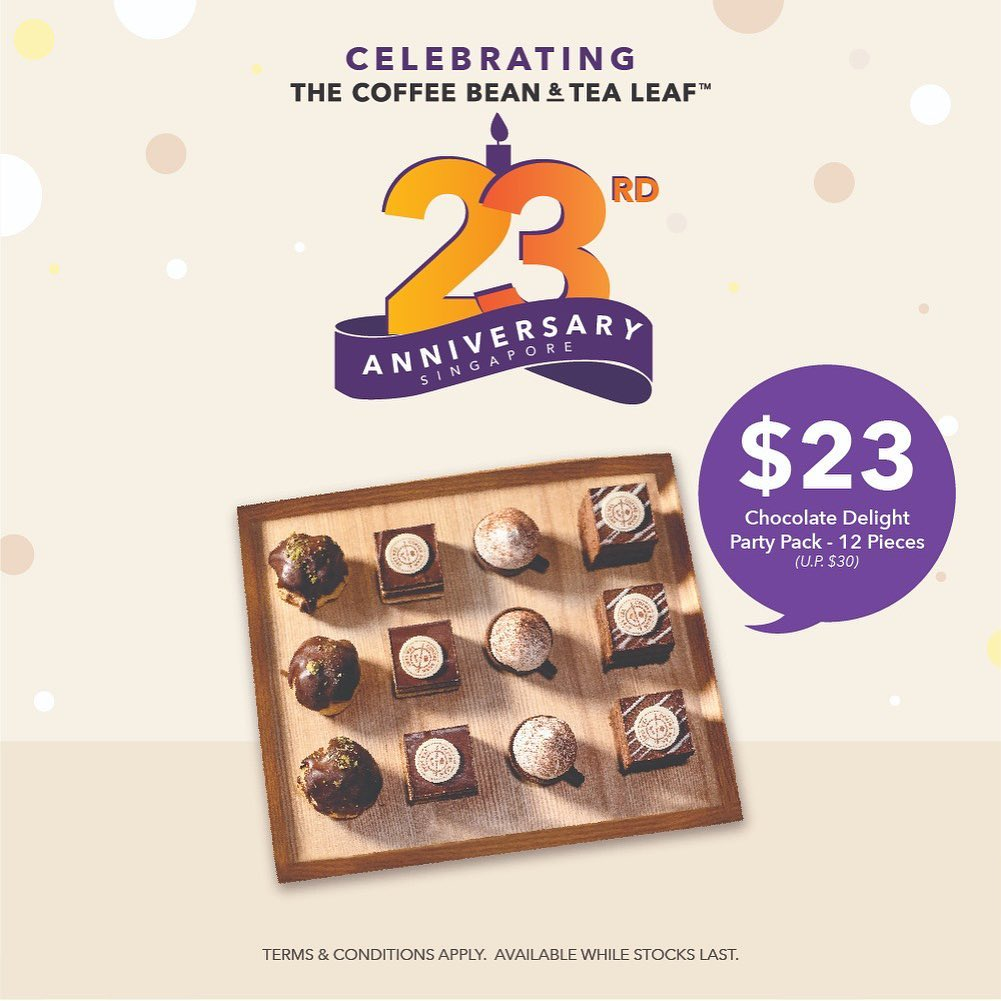 The Coffee Bean & Tea Leaf Singapore 23rd Anniversary Promotions 23 Oct - 3 Nov 2019 | Why Not Deals 1