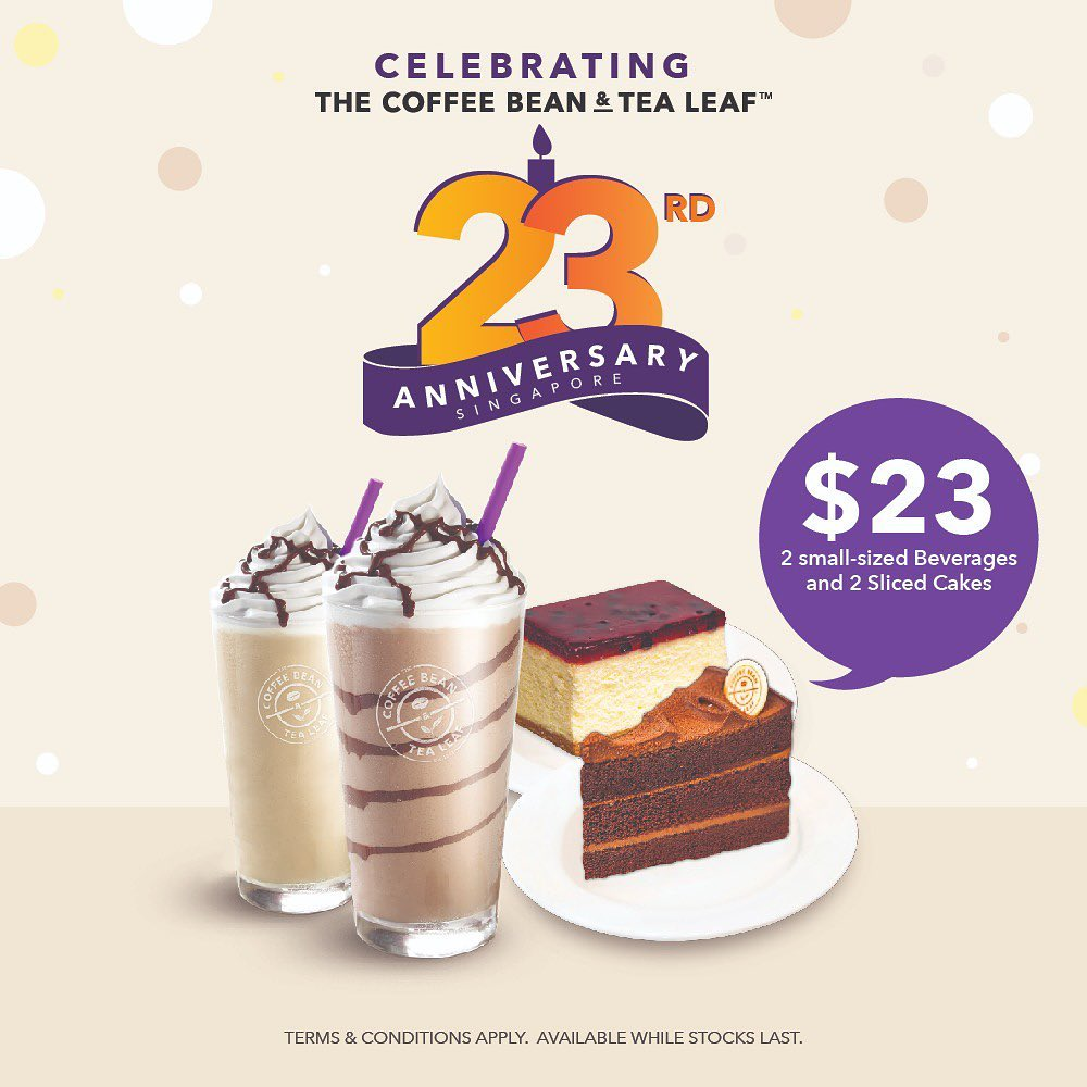 The Coffee Bean & Tea Leaf Singapore 23rd Anniversary Promotions 23 Oct - 3 Nov 2019 | Why Not Deals