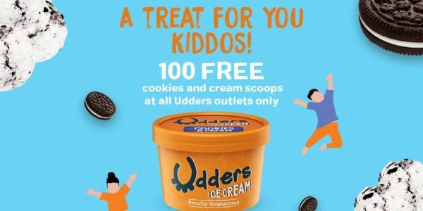 Udders Singapore 100 FREE Cookies and Cream Cups for Kids Children's Day Promotion 4 Oct 2019