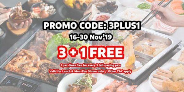 GoroGoro Steamboat & Korean Buffet Singapore 3+1 FREE Promotion 16-30 Nov 2019