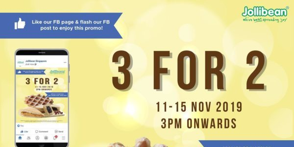 Jollibean Singapore Buy 3 For The Price Of 2 November Monthly Promotion 11-15 Nov 2019