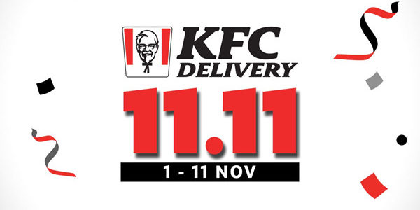KFC Singapore 11.11 Delivery Exclusive Deals Up to 97% Off Promotion ends 11 Nov 2019