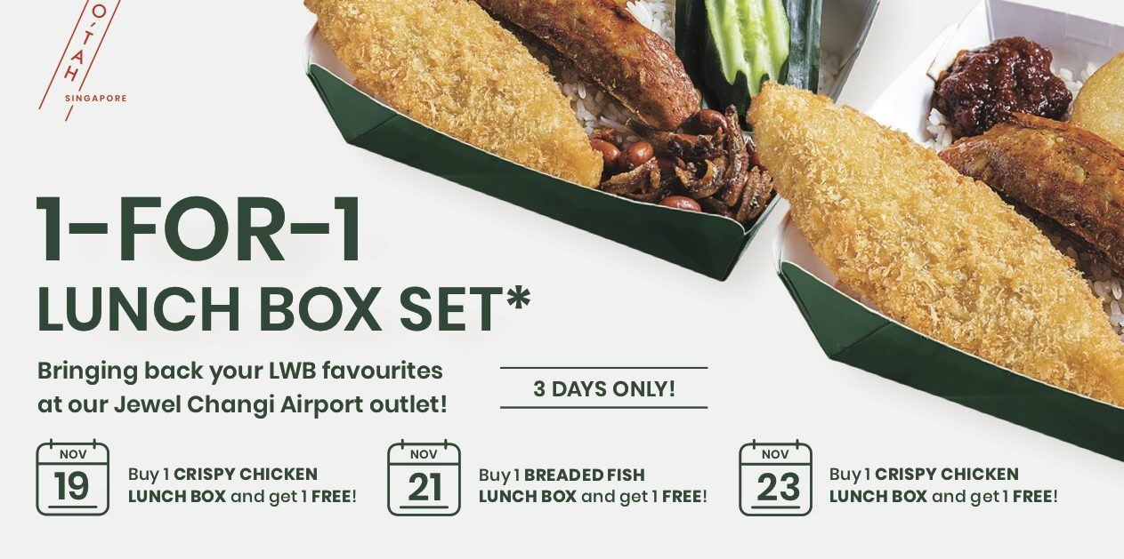 Lee Wee & Brothers Singapore 1-for-1 Deal on Selected Lunch Boxes at Jewel Changi Airport Outlet 19-23 Nov 2019
