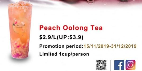 Miss Tea Singapore $2.90 Peach Oolong Tea Christmas Special Promotion 15 Nov – 31 Dec 2019
