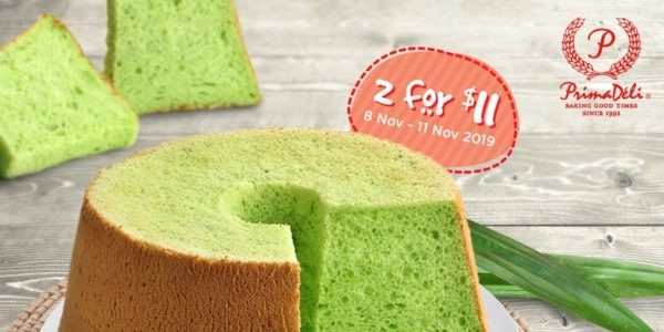 PrimaDeli Singapore Pandan Chiffon Cakes 2 For $11 11.11 Promotion ends 11 Nov 2019