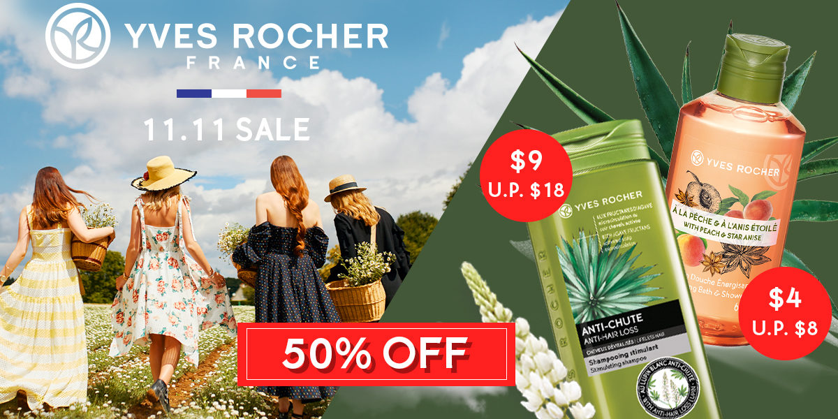 Yves Rocher Singapore Biggest Sale of the Year 11.11 50% Off Storewide Promotion 9-11 Nov 2019