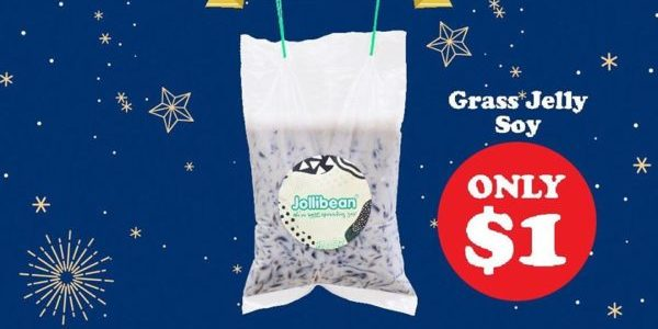 Jollibean SG $1 Grass Jelly Soy Drink only on 31 Dec 2019