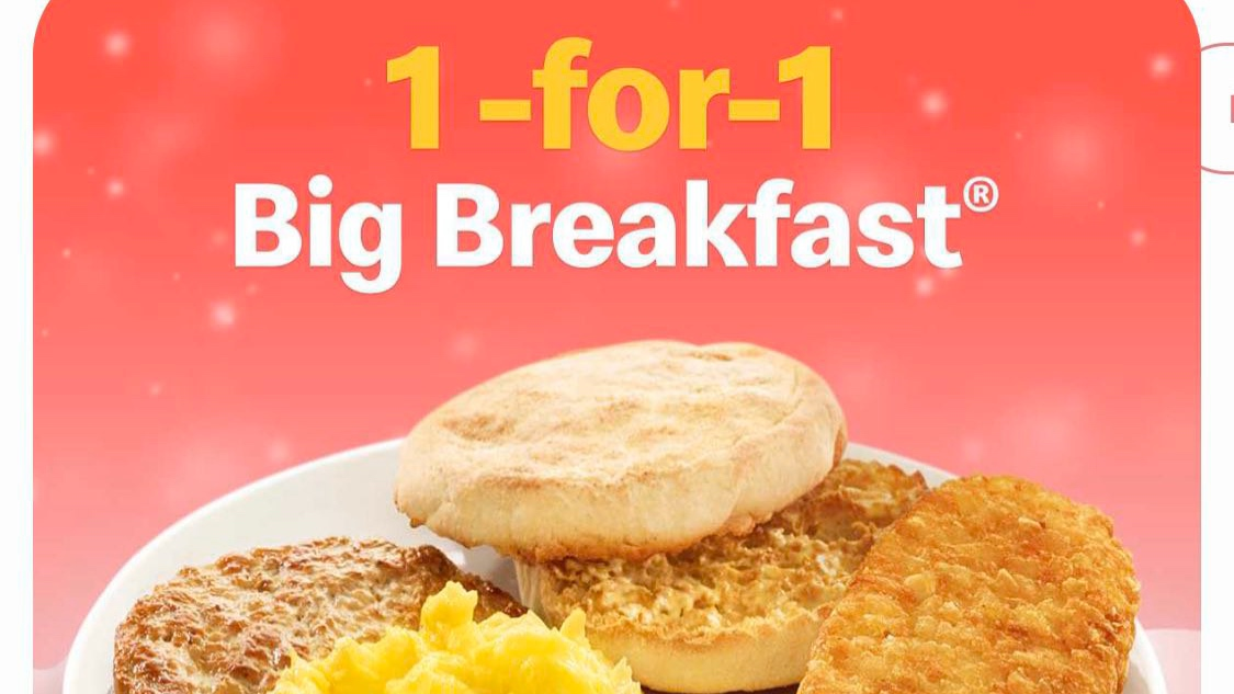 McDonald's SG 1-for-1 Big Breakfast Promotion 2-5 Dec 2019