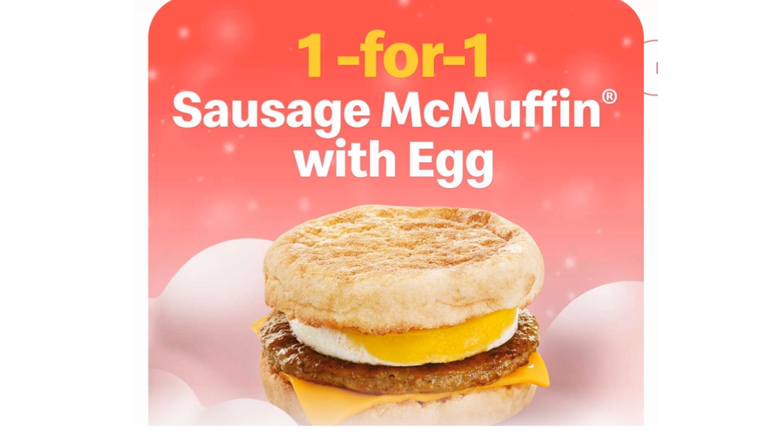 McDonald's SG 1-for-1 Sausage McMuffin with Egg Promotion 11-13 Dec 2019