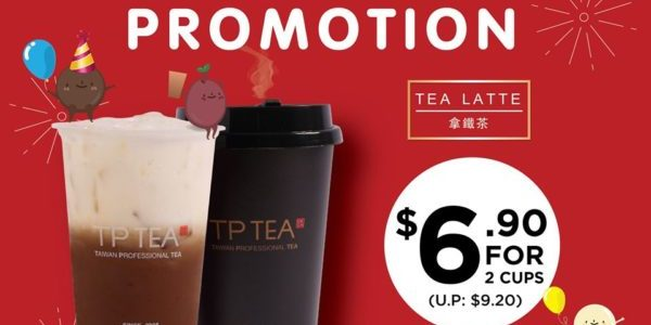TP Tea SG $6.90 for 2 Cups of Tea Latte Boxing Day Special ends 2 Jan 2020
