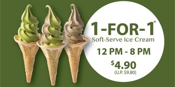 108 Matcha Saro SG 1-for-1 Soft-Serve Ice-Cream at $4.90 on 27 Jan 2020