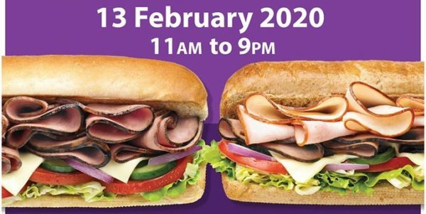 Subway SG Buy One Get One FREE at Thomson Plaza on 13 Feb 2020