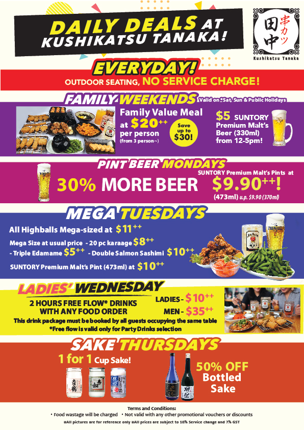 [Promotion] Everyday Is A Party At Kushikatsu Tanaka!   Why Not Deals 2