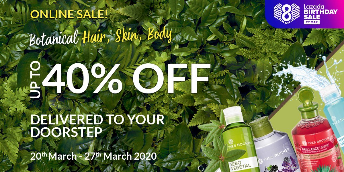 Yves Rocher: Up to 40% OFF Storewide on Lazada from 20th – 27th March 2020