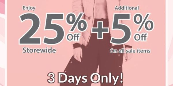 Winter Time SG 25% Off Storewide Promotion at Vivo City Outlet