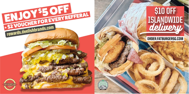 Get a FREE $5 from Fatburger, UNLIMITED $2 & $10 OFF Islandwide Delivery!