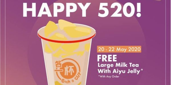 Each-a-cup Singapore Happy 520 FREE Milk Tea Promotion