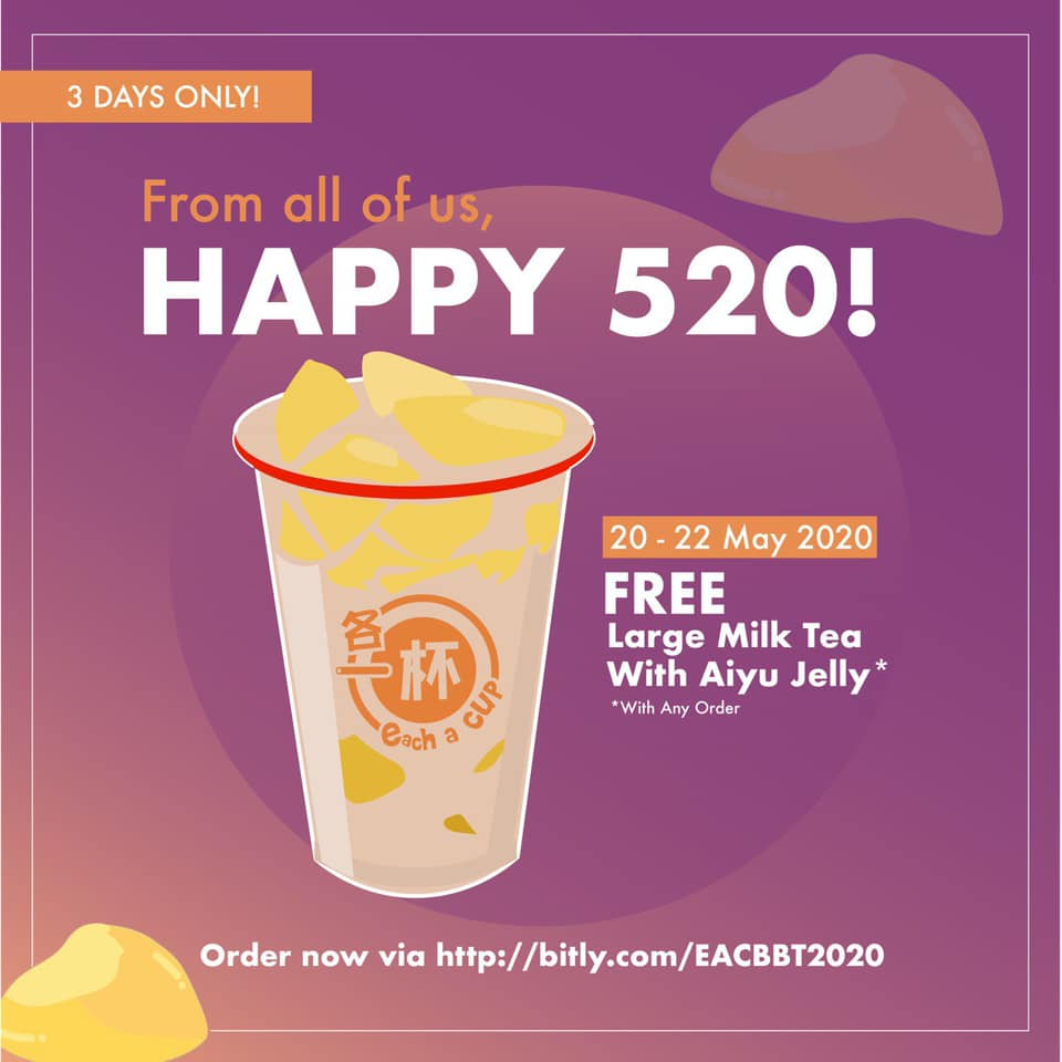 Each-a-cup Singapore Happy 520 FREE Milk Tea Promotion | Why Not Deals