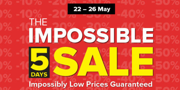 Harvey Norman Singapore 5 Days Impossible Sale Up to 60% Off Promotion