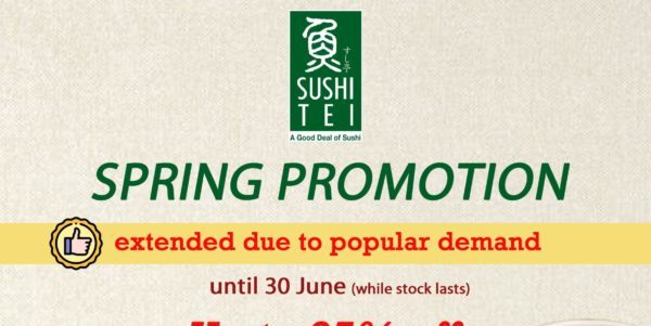 Up to 25% OFF on Sushi Tei's new Spring Promotion from now till 30th June!