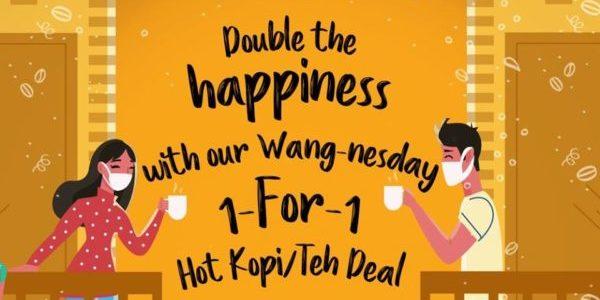 WangCafe SG Wang-nesday 1-for-1 Hot Kopi/Teh FB Deal