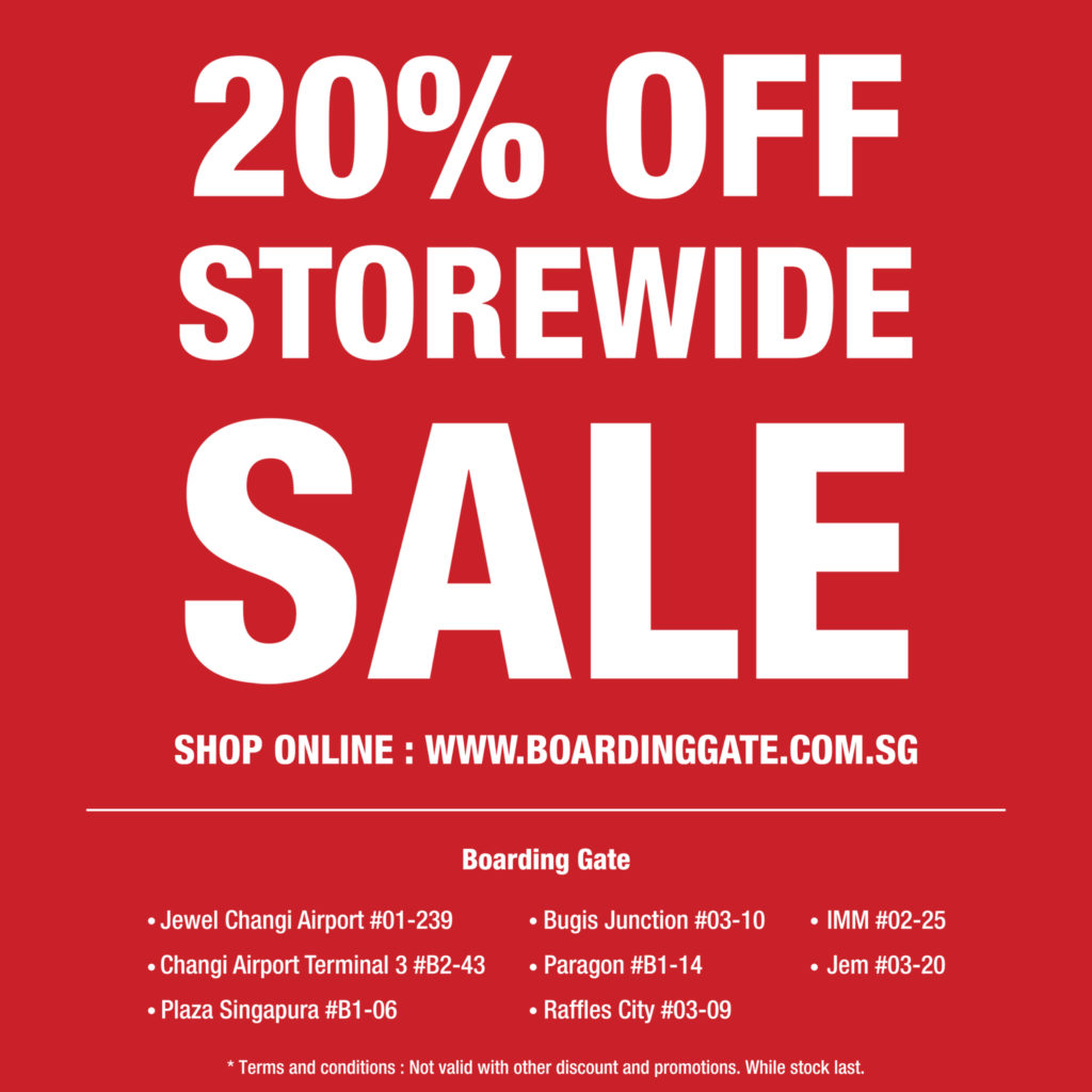 Boarding Gate SG is having a 20% OFF MID-YEAR STOREWIDE SALE!   Why Not Deals