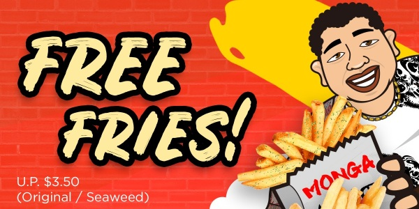 Monga is Giving Out Free Fries with Purchase of Every Chicken Outlet From 10-13 July!