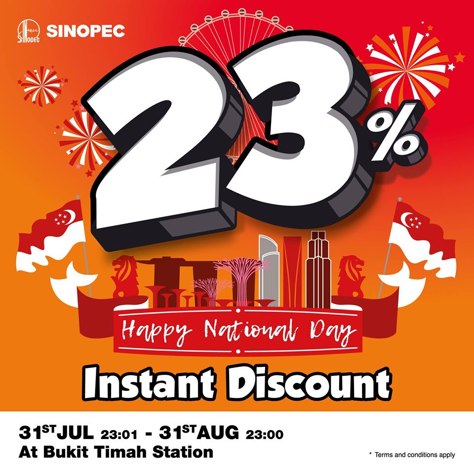 Sinopec SG 23% Instant Discount National Day Promotion 31 Jul - 31 Aug 2020 | Why Not Deals