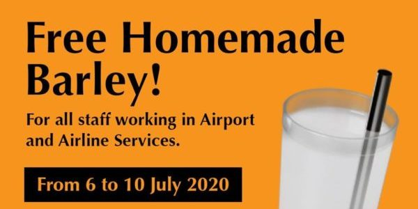 WangCafe Singapore FREE Homemade Barley For Airport & Airlines Staff 6-10 Jul 2020