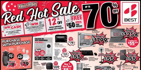 BEST Denki Singapore Red Hot Sale Up to 70% Off National Day Promotion