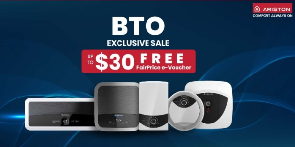 [BTO Exclusive] Get FREE up to $30 FairPrice Vouchers with Purchase of Selected Ariston Water Heater