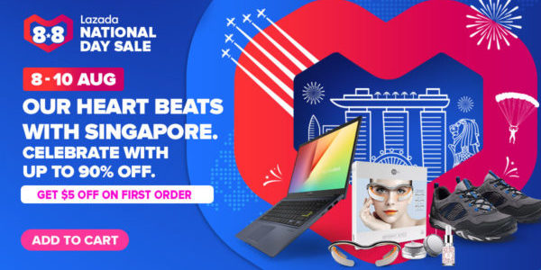 Lazada SG 8.8 National Day Sale Up to 90% Off Promotion 8-10 Aug 2020