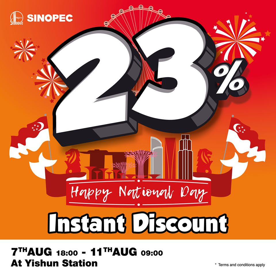 Sinopec Singapore 23% Instant Savings @ Yishun National Day Promotion 7-11 Aug 2020 | Why Not Deals