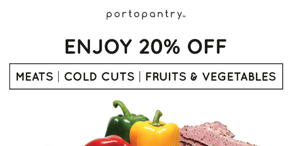 20% Off ALL Meats, Fresh Fruits and Vegetables at Portopantry.com!