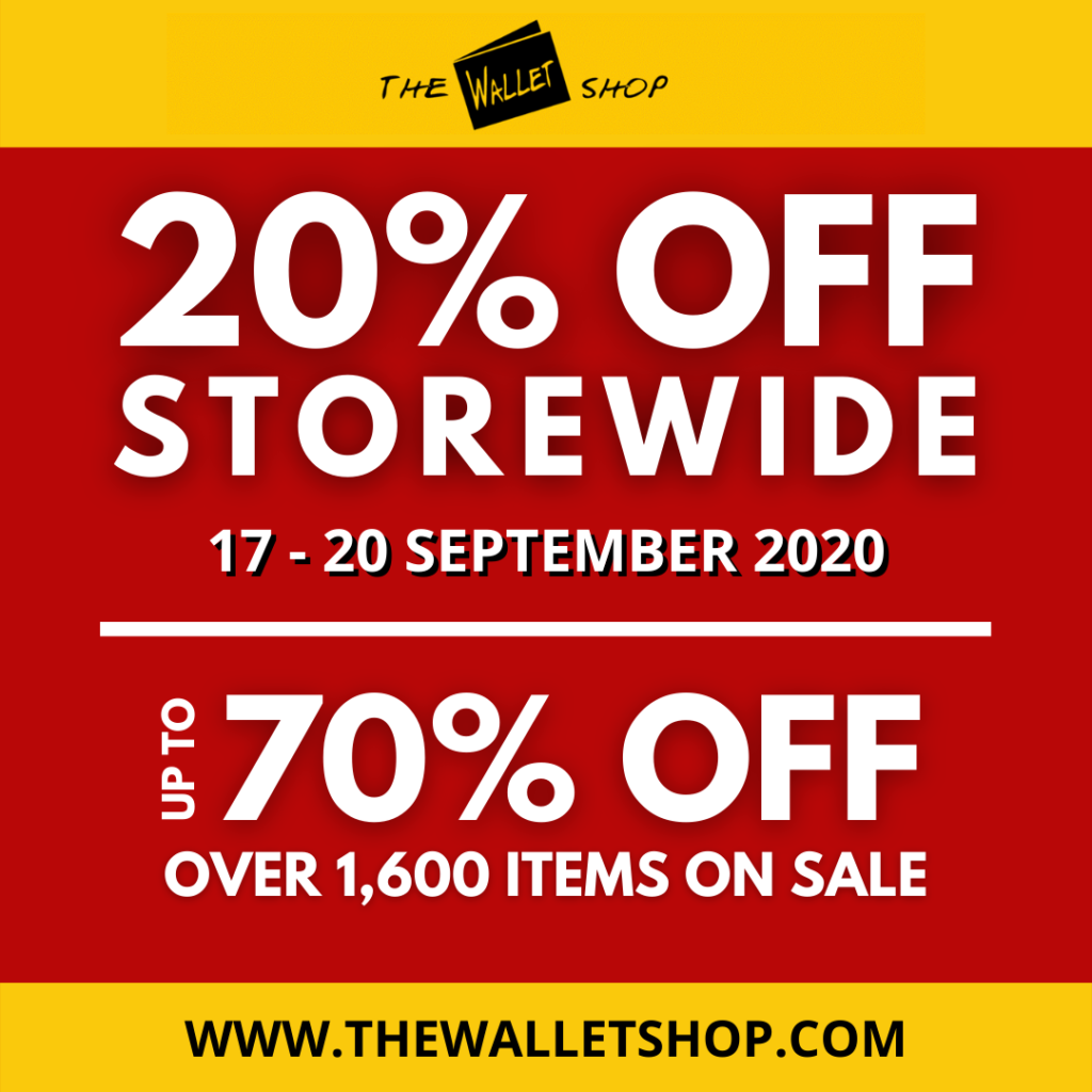 THE WALLET SHOP 20% STOREWIDE SALE – 17 TO 20 SEPTEMBER 2020 | Why Not Deals 1