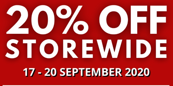 BOARDING GATE 20% STOREWIDE SALE – 17 TO 20 SEPTEMBER 2020