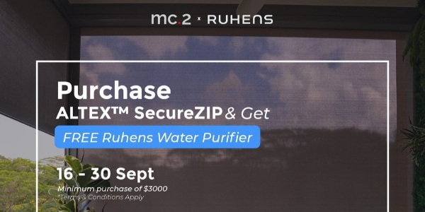 Get FREE Ruhens Water Purifier Worth $599 With Minimum Spending of $3,000 for ALTEX™ SecureZIP From Now to 30 Sep 2020!