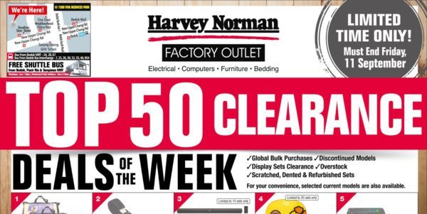 Harvey Norman Singapore Top 50 Clearance At Their Factory Outlet Promotion ends 9 Sep 2020