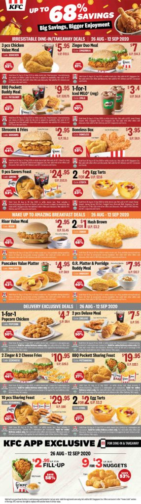 Kfc Singapore Enjoy Up To 68 Off Promotion With Kfc Coupons Ends 12 Sep 2020