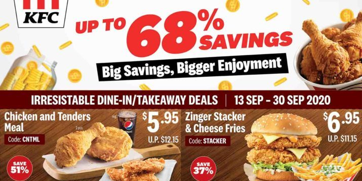 KFC Singapore Enjoy Up To 68% Off With All New Coupons Valid From 13-30 Sep 2020