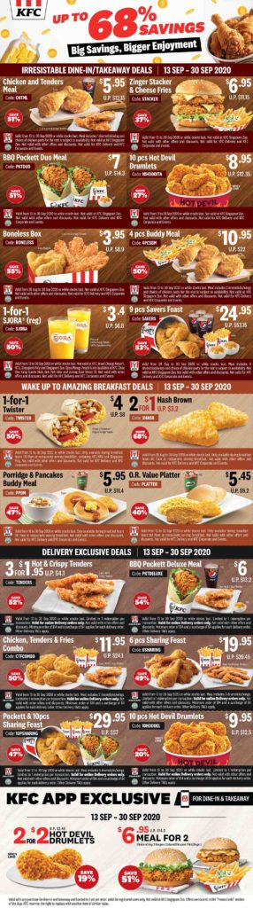 KFC Singapore Enjoy Up To 68% Off With All New Coupons Valid From 13-30 Sep 2020 | Why Not Deals