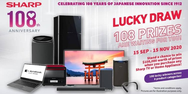 SHARP Singapore Holds Lucky Draw To Celebrate 108 Years, 108 winners stand a chance to win prizes!
