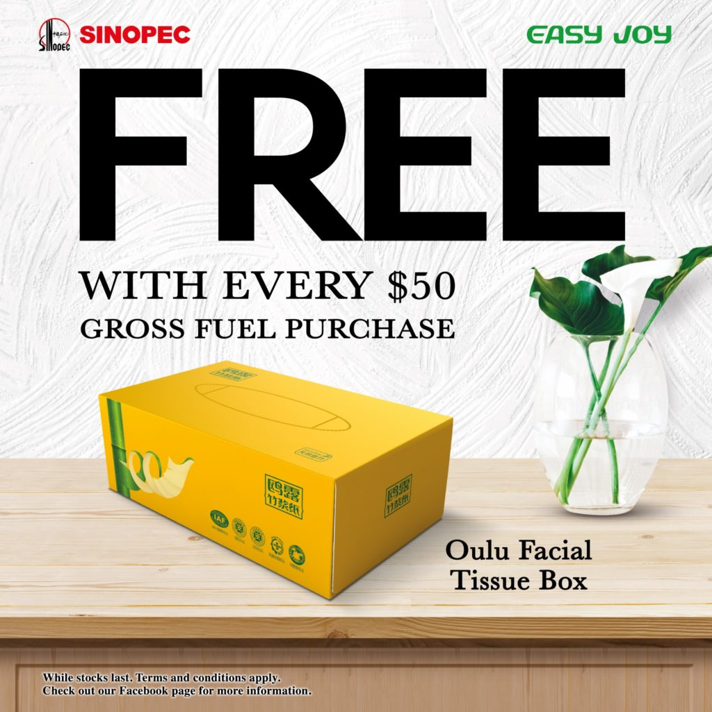 Sinopec Singapore Exclusively @ Yishun FREE Box of Oulu Facial Tissue Promotion ends 18 Sep 2020 | Why Not Deals