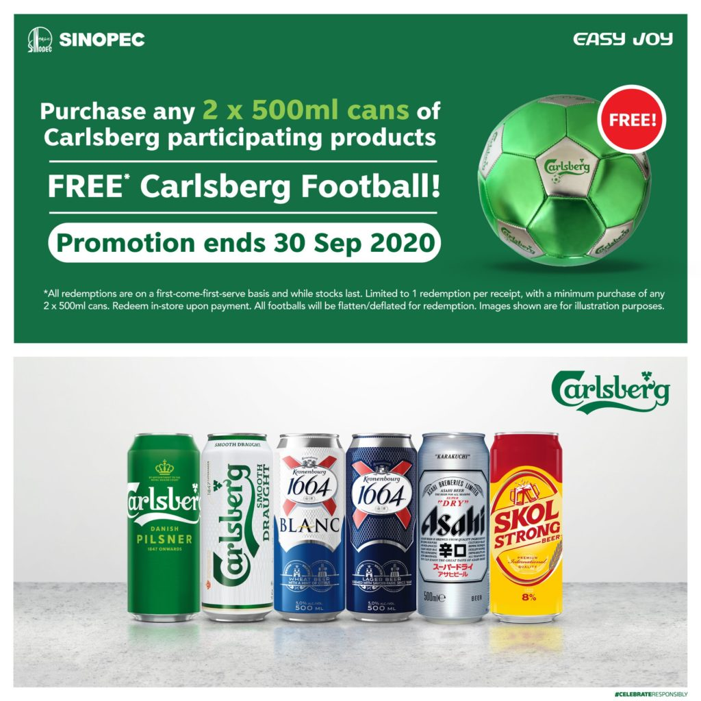 Sinopec Singapore FREE* Carlsberg Football @ All Stations Promotion ends 30 Sep 2020 | Why Not Deals